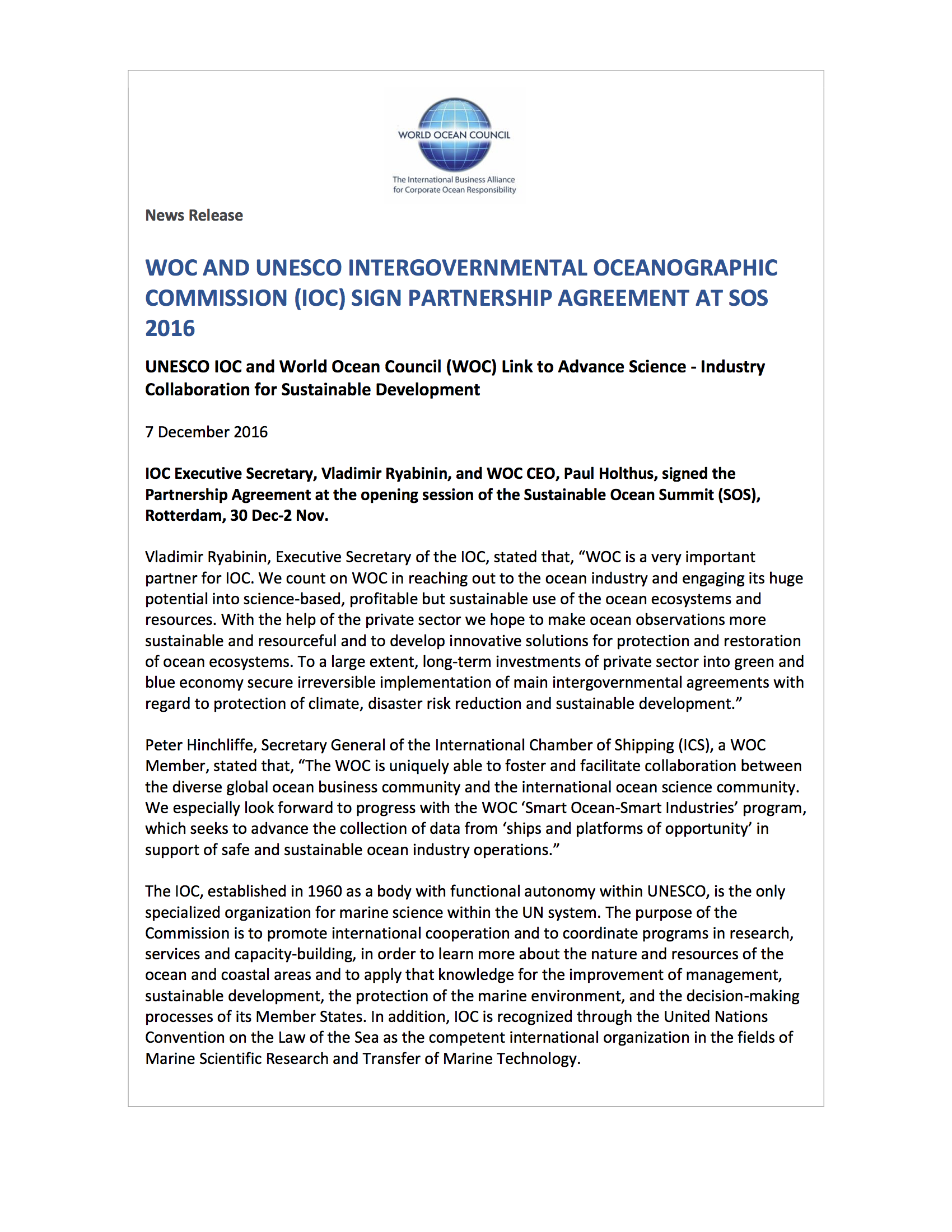 WOC and UNESCO Intergovernmental Oceanographic Commission Partnership Agreement