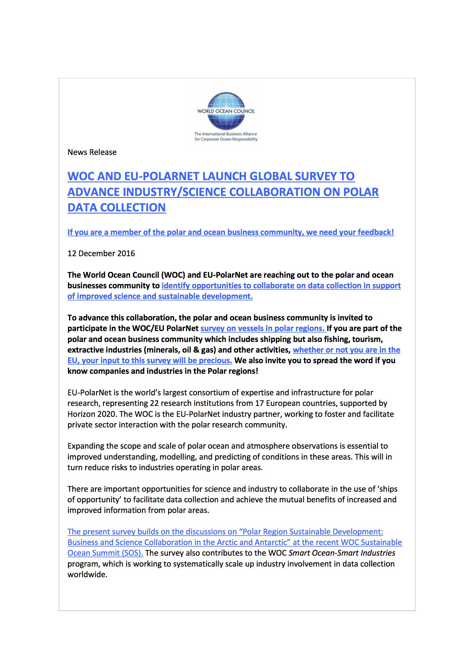 EU Polar Net and World Ocean Council Polar Regions Collaboration