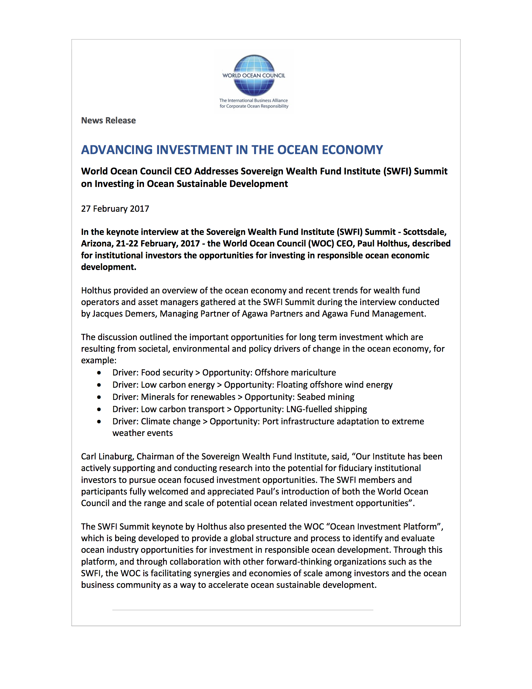 new releases world ocean council investing in the ocean economy and sustainable development 27 2017