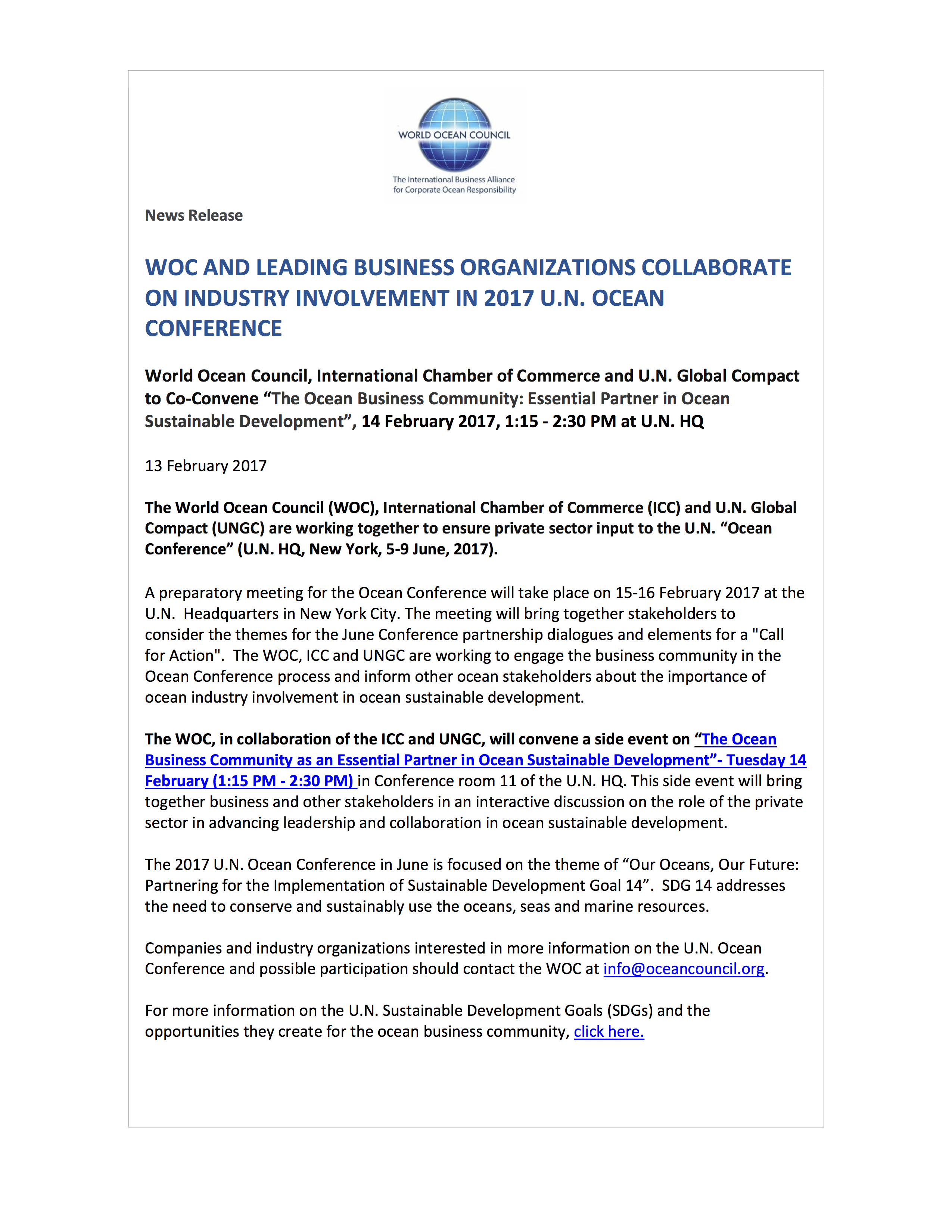 WOC News Release WOC Collaboration to Ensure Business at 2017 U.N. Ocean Conference