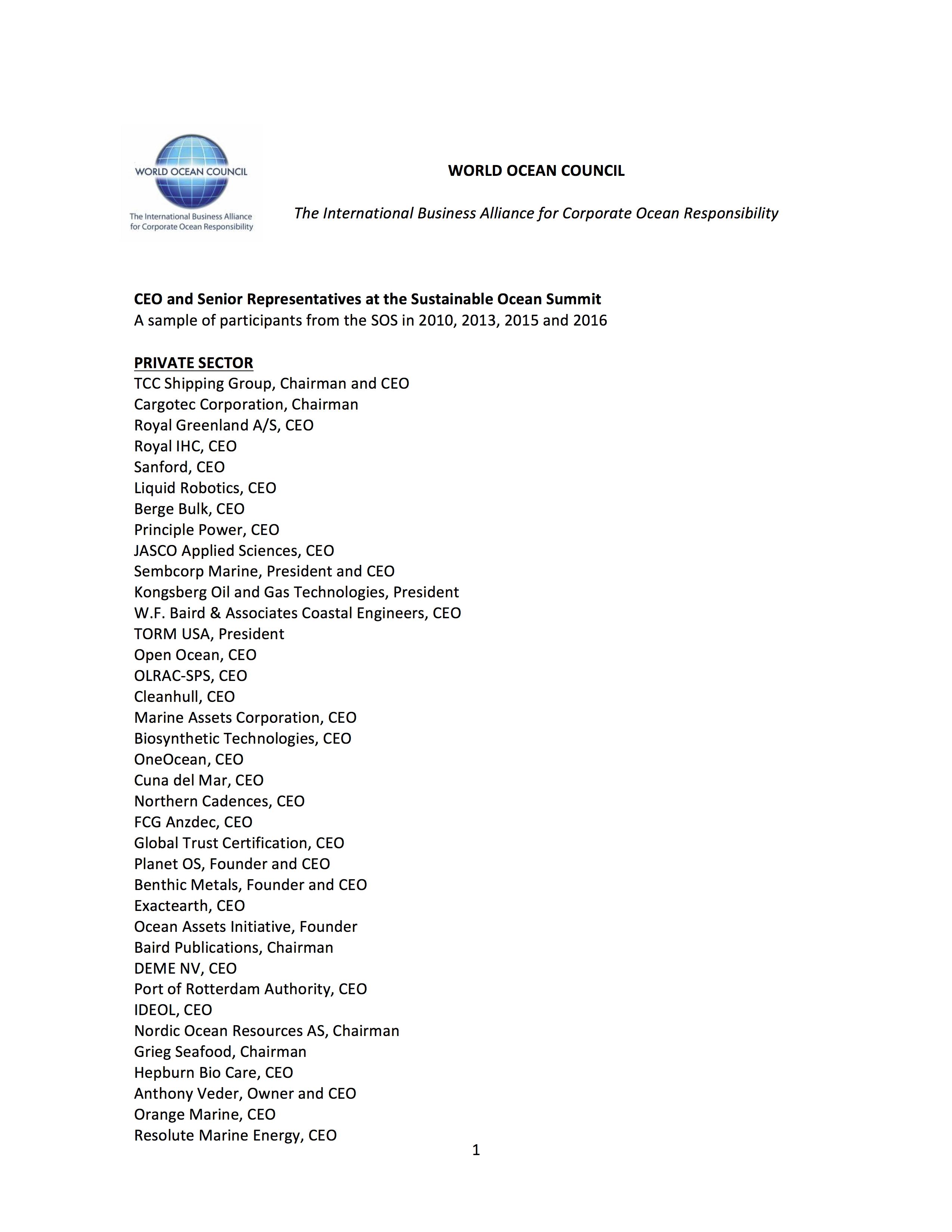 CEOs and Senior Representatives at SOS 2010, 2013, 2015 and 2016